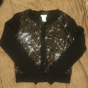 Worthington black cardigan with black sequins